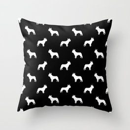 Boston Terrier silhouette black and white minimal dog lover gifts all dog breeds Throw Pillow