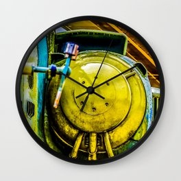 An Engine And A Rotor Blade Of A Modern Military Helicopter Wall Clock