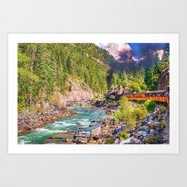 The Vintage DSNG Train Chugging Along The Animas River Art Print