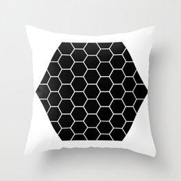 Geometric shape t-shirts & prints: Black Hexagon (Hex x Hex) Multiple colours available... Throw Pillow