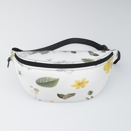 Yellow Flowers & White Roses 8 Fanny Pack