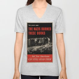 Vintage poster - Burned Books Unisex V-Neck