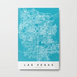 Las Vegas Map Nevada | Blue & Cyan | More Colors, Review My Collections Metal Print