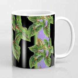 Decorative Green Tropical Botanical Foliage  Lilac-Black Art Coffee Mug