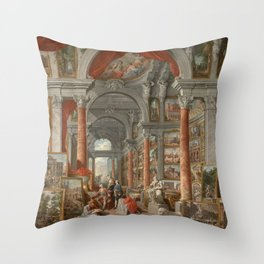 Picture Gallery with Views of Modern Rome Throw Pillow