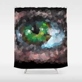 Big green eye. Abstract. Black background Shower Curtain