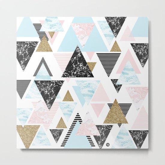 Textures triangles geometric Metal Print