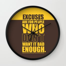 Lab No. 4 Excuses  Are For People Enough Gym Motivational Quotes Poster Wall Clock