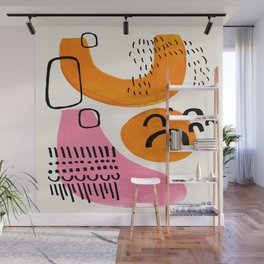 Vintage Abstract Mid Century Modern Playful Pink Yellow Ochre Organic Shapes Wall Mural