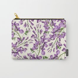 Boho forest green lavender lilac wisteria floral pattern Carry-All Pouch