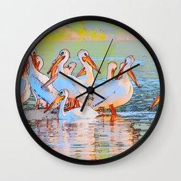 White Pelicans Wall Clock