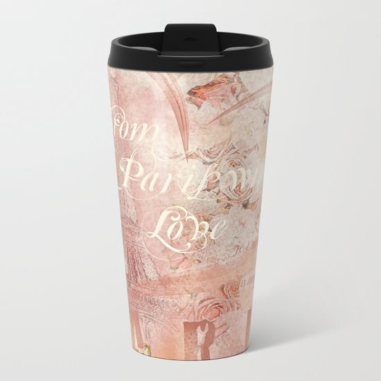 From Paris With Love In Salmon-Rosé Metal Travel Mug