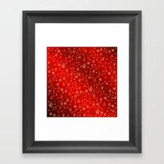 red Merry christmas text in gold, beautiful reindeer, green fir trees, bright stars festive, elegant Framed Art Print