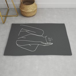 Minimal Line Art of a Woman Rug