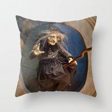 Rucus Studio Witch's Flight Halloween Throw Pillow