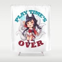 league Shower Curtains featuring League of Legends | Ahri by Kalce