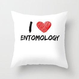 I Love Entomology Throw Pillow