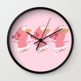 3 Little Piglets Ballerina Wall Clock