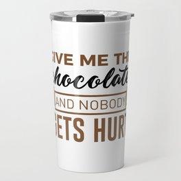 Stay Safe Keep Calm Eat Chocolate Safety Funny Design Travel Mug