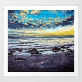 Beautiful sunset on beach sea. Oil painting. Art Print
