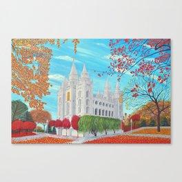 Salt Lake City, Utah LDS Temple in Autumn Canvas Print