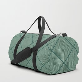 Stitched Diamond Geo Grid in Green Duffle Bag