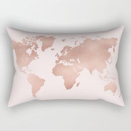 Rose Gold World Map Rectangular Pillow