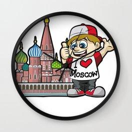 I LOVE MOSCOW Russia Tourist Russian Kremlin Wall Clock