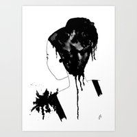 Woman with flower Art Print