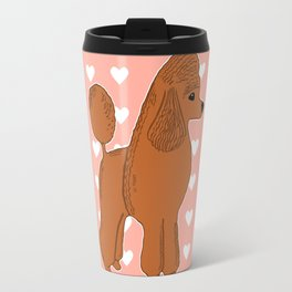 Red Apricot Poodle with Peach Pink & Hearts Travel Mug