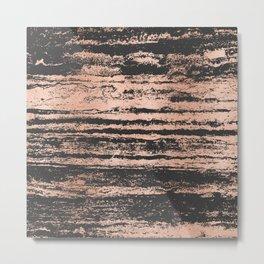 Marble Black Rose Gold - Never Mind Metal Print