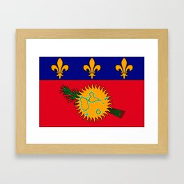 Guadeloupe Flag with Map of Guadeloupe Framed Art Print