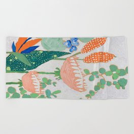 Proteas and Birds of Paradise Painting Beach Towel