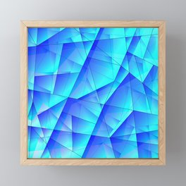 Abstract celestial pattern of blue and luminous plates of triangles and irregularly shaped lines. Framed Mini Art Print