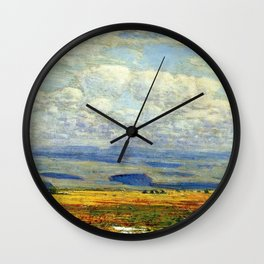 Classical Masterpiece 'Oregon Landscape' by Frederick Childe Hassam Wall Clock