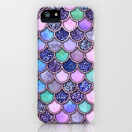 Colorful Pink & Purple Watercolor & Glitter Mermaid Scales iPhone Case