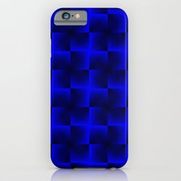 Rotated rhombuses of blue crosses with shiny intersections. iPhone Case