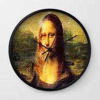 da vinci Wall Clocks featuring The Da Vinci Code by  Agostino Lo Coco