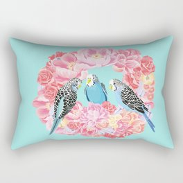 Birds of Paradise Parakeets Blue budgie Pink Peonies Flowers Wreath Rectangular Pillow