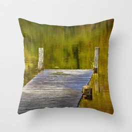 Autumn Reflections and Boat Dock Throw Pillow