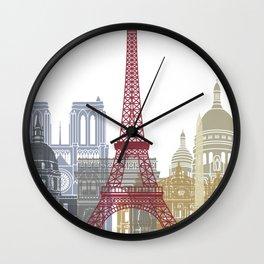 Paris skyline poster Wall Clock
