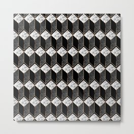 Geometric 3D Rectangles with Modern Marble Metal Print