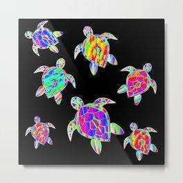 Turtle full color multicolor happy color Tortues multicolores Metal Print