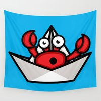 crab Wall Tapestries featuring Hermit Crab by Leon-Design