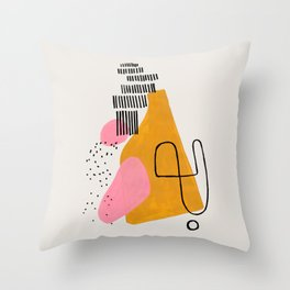 Mid Century Art by Enshape Ejaaz Haniff 'Party Champagne' Fun Colorful Yellow Pink Abstract Minimal Shape Line Patterns Throw Pillow