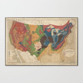 Vintage United States Geological Map (1872) Canvas Print