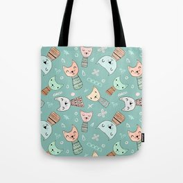 Kokeshi Kitties with Teal Background Tote Bag