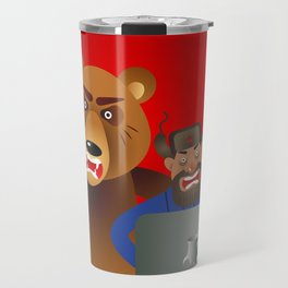 Russian hacker with laptop, vodka and own pet bear on USSR flag background Travel Mug