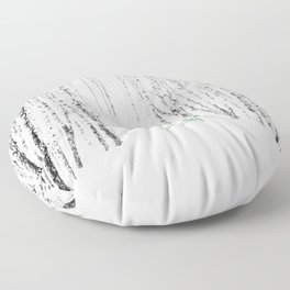 Green bench in white winter forest Floor Pillow