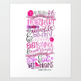 Never Doubt That you are Valuable...Hillary Clinton Quote Art Print